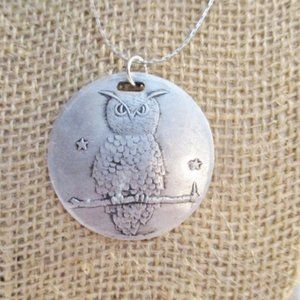 Jewelry - OWL BIRD DISC PEWTER SILVER FERTILITY Necklace